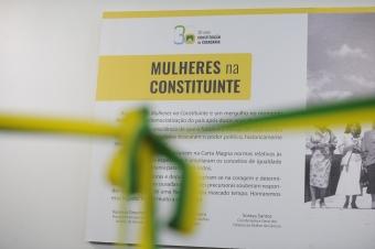 """Imagem de quadro de informação sobre """"Mulheres na Constituinte"""" com laço na frente"""